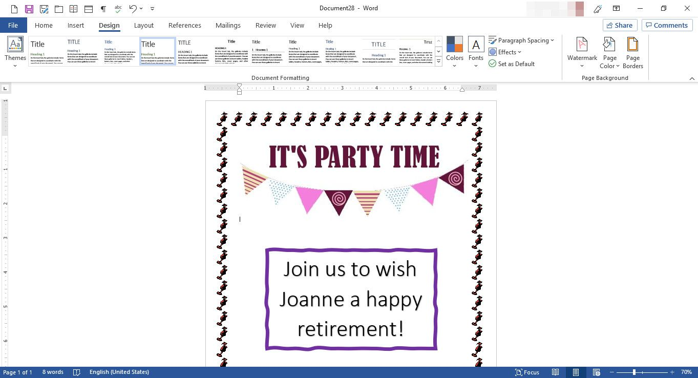 MS Word document with custom template design