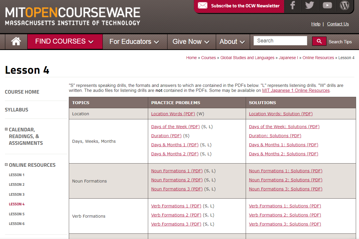 MIT OpenCourseWare Japanese language learning lessons