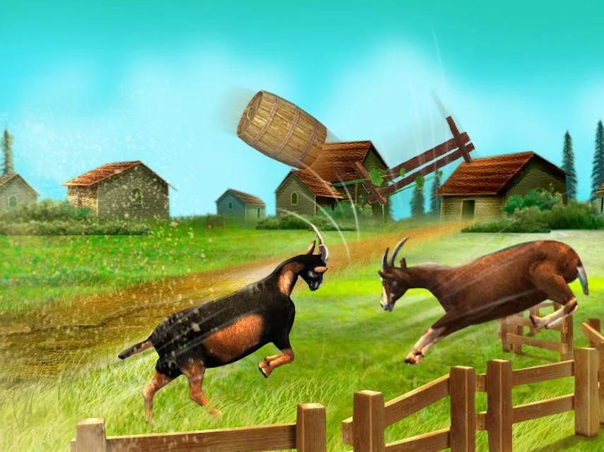 Screenshot of Goat Simulator game of two goats butting a barrel