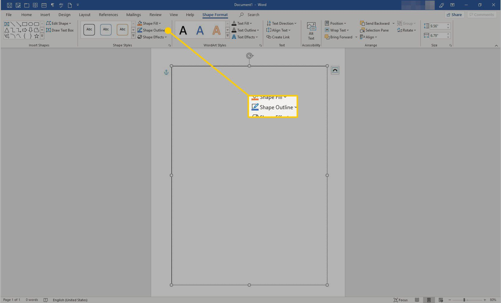 Word with the Shape Outline option highlighted