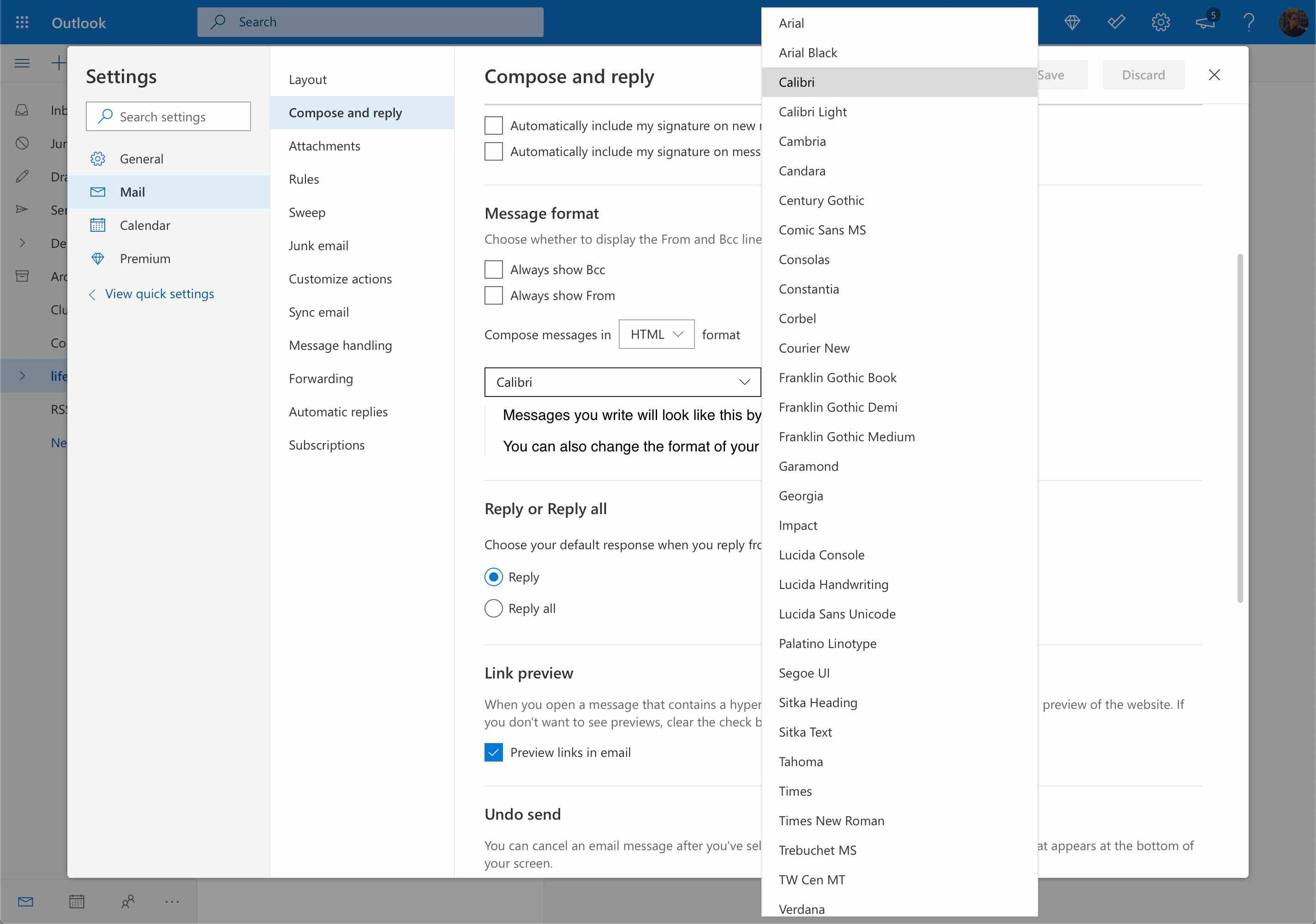 Font selection dropdown and choices in Outlook.com