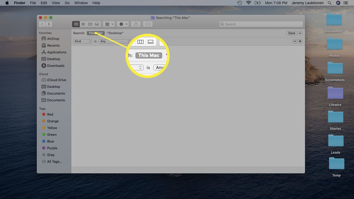A screenshot of a Finder search on macOS.