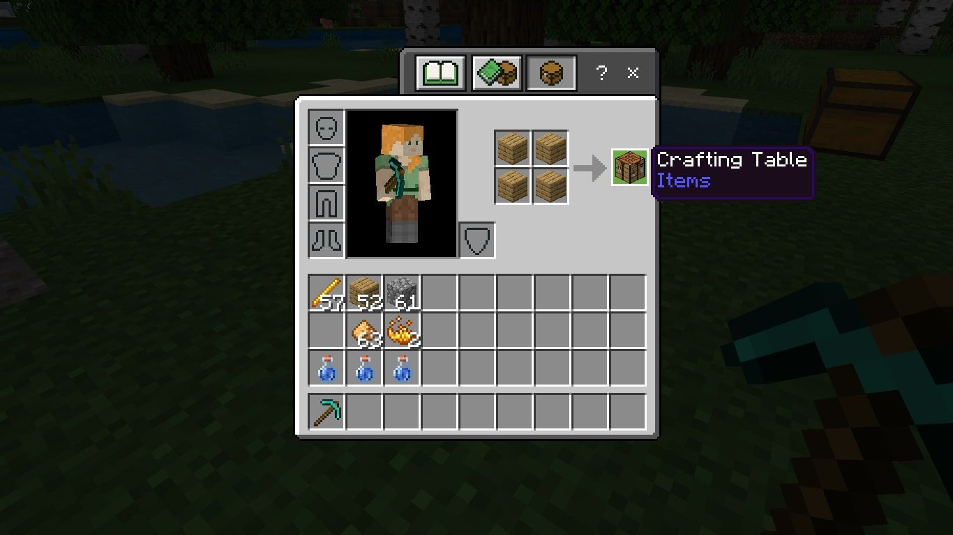Crafting Table in the Minecraft crafting grid