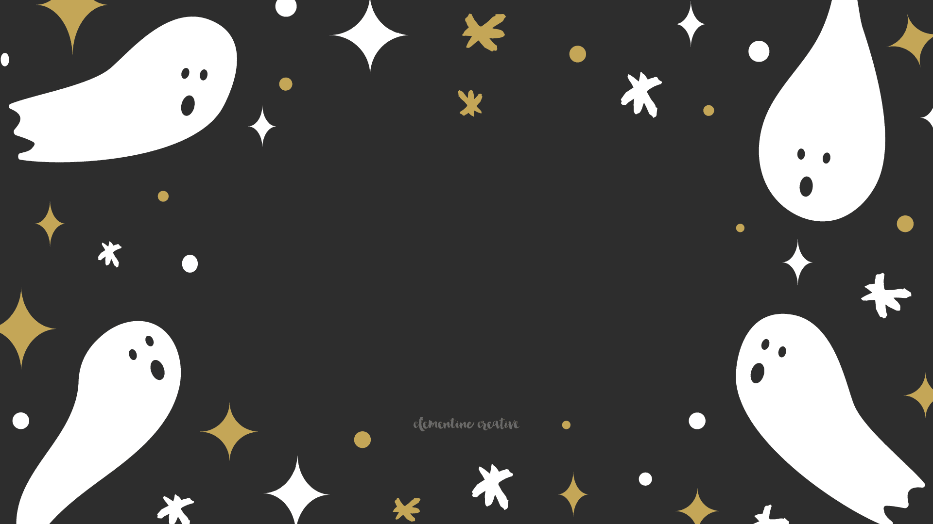 Ghosts and stars on a black background