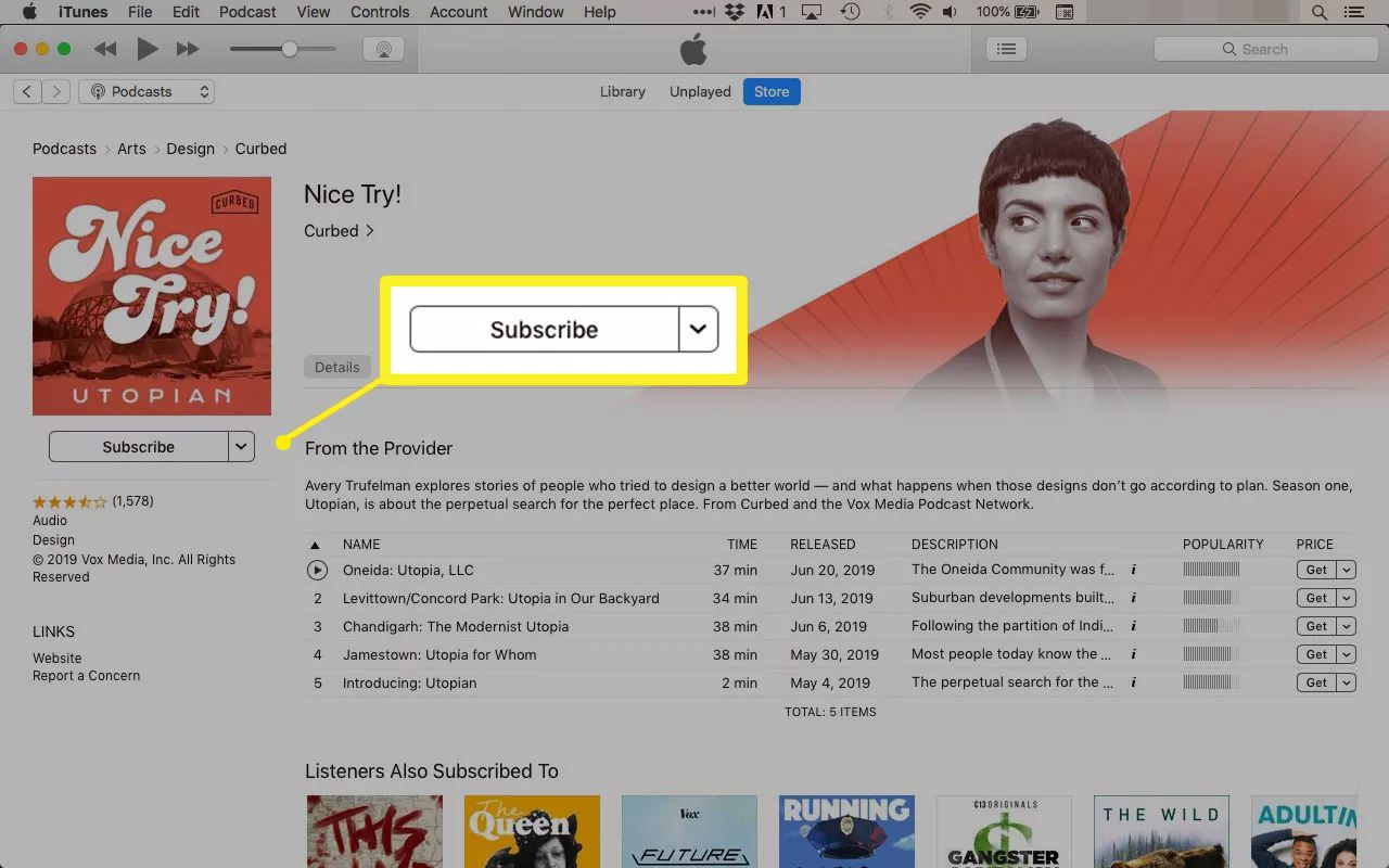 Subscribing to podcasts in iTunes