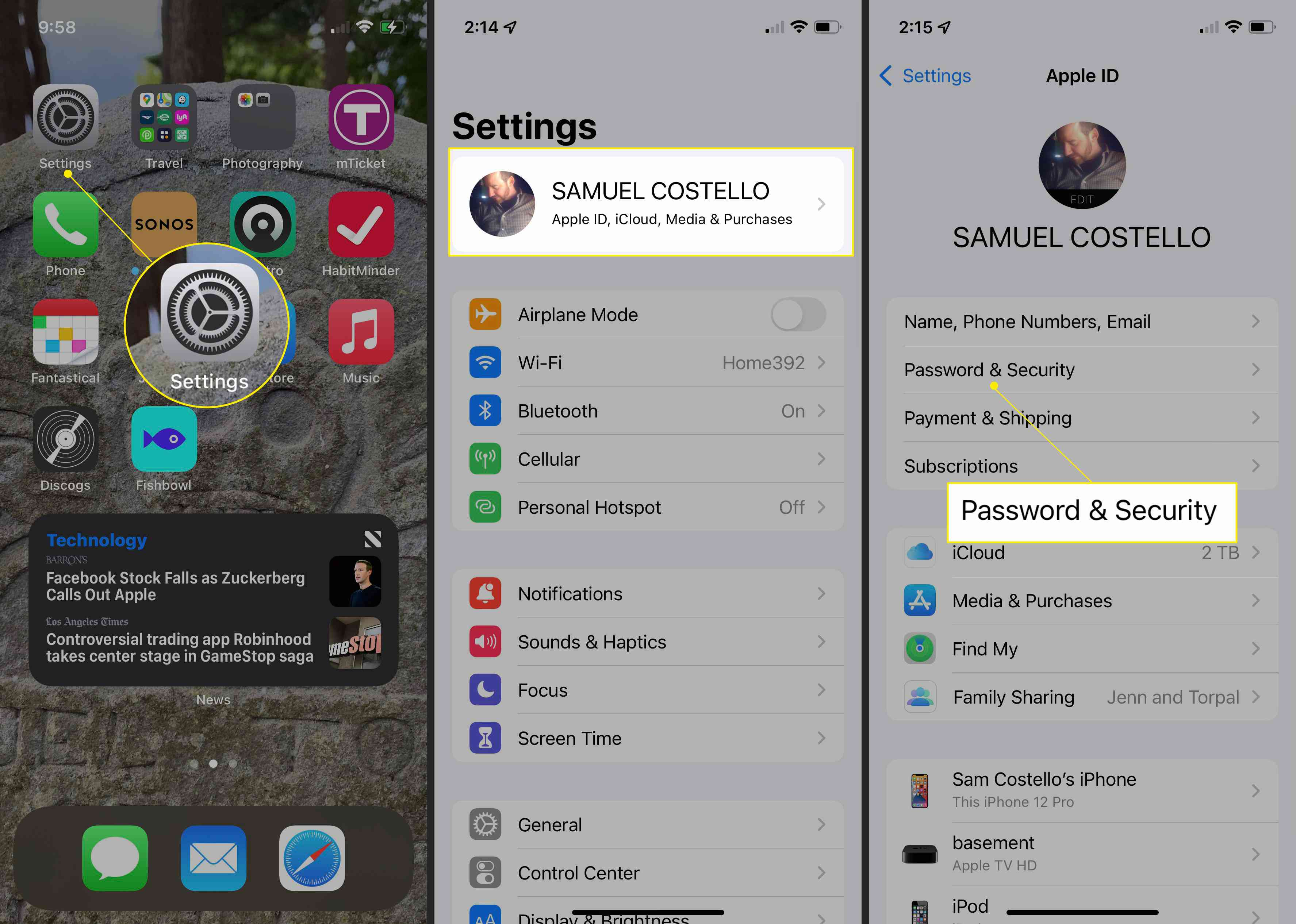 iPhone with Settings, Account ID name, and Password & Security highlighted