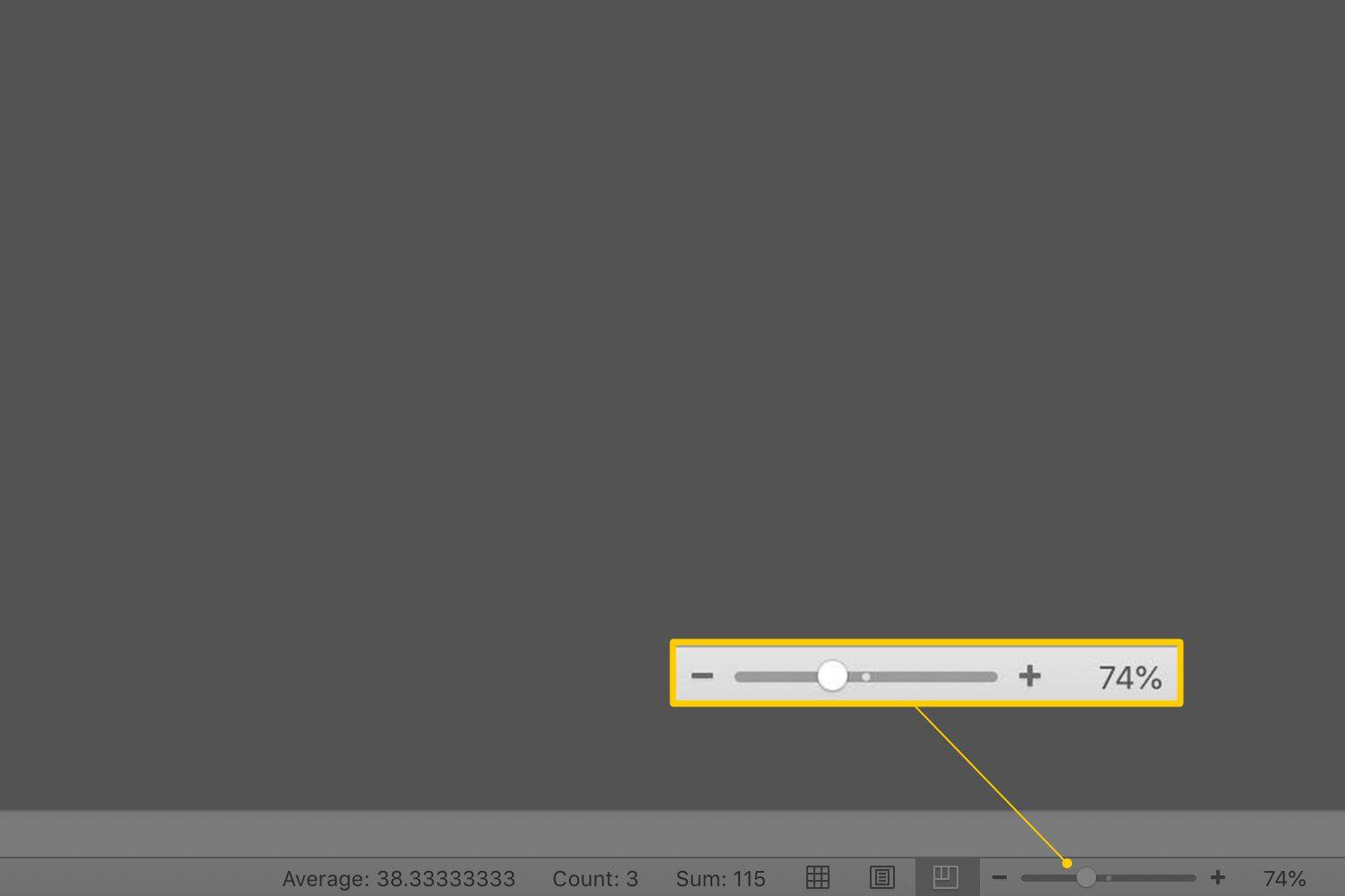 Zoom bar in Excel Status Bar