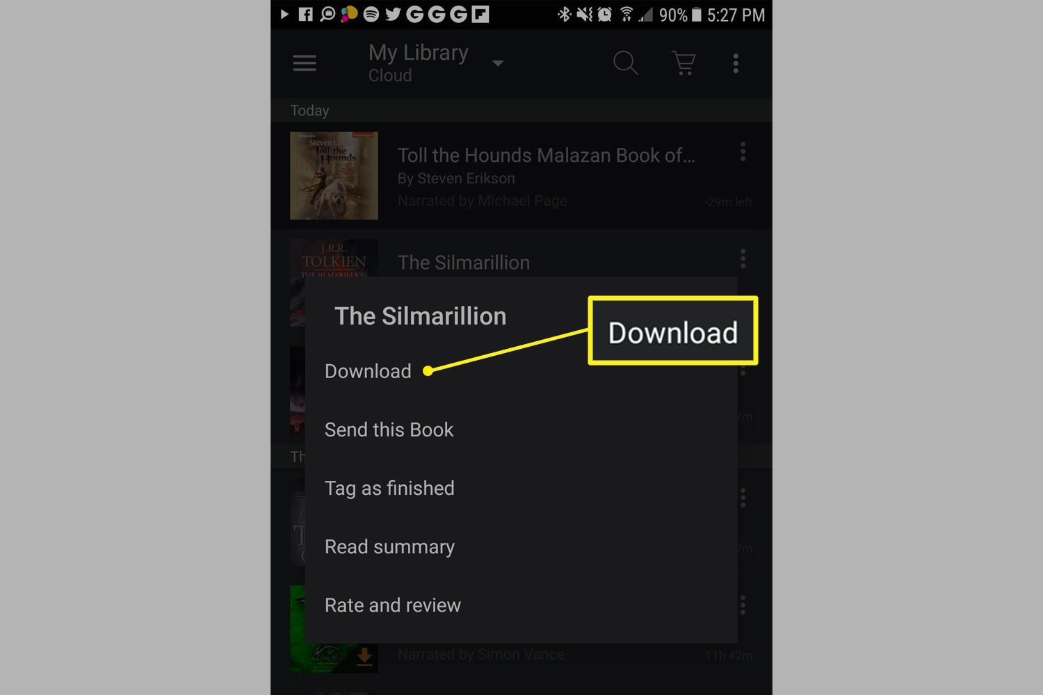 A book in the library with Download highlighted