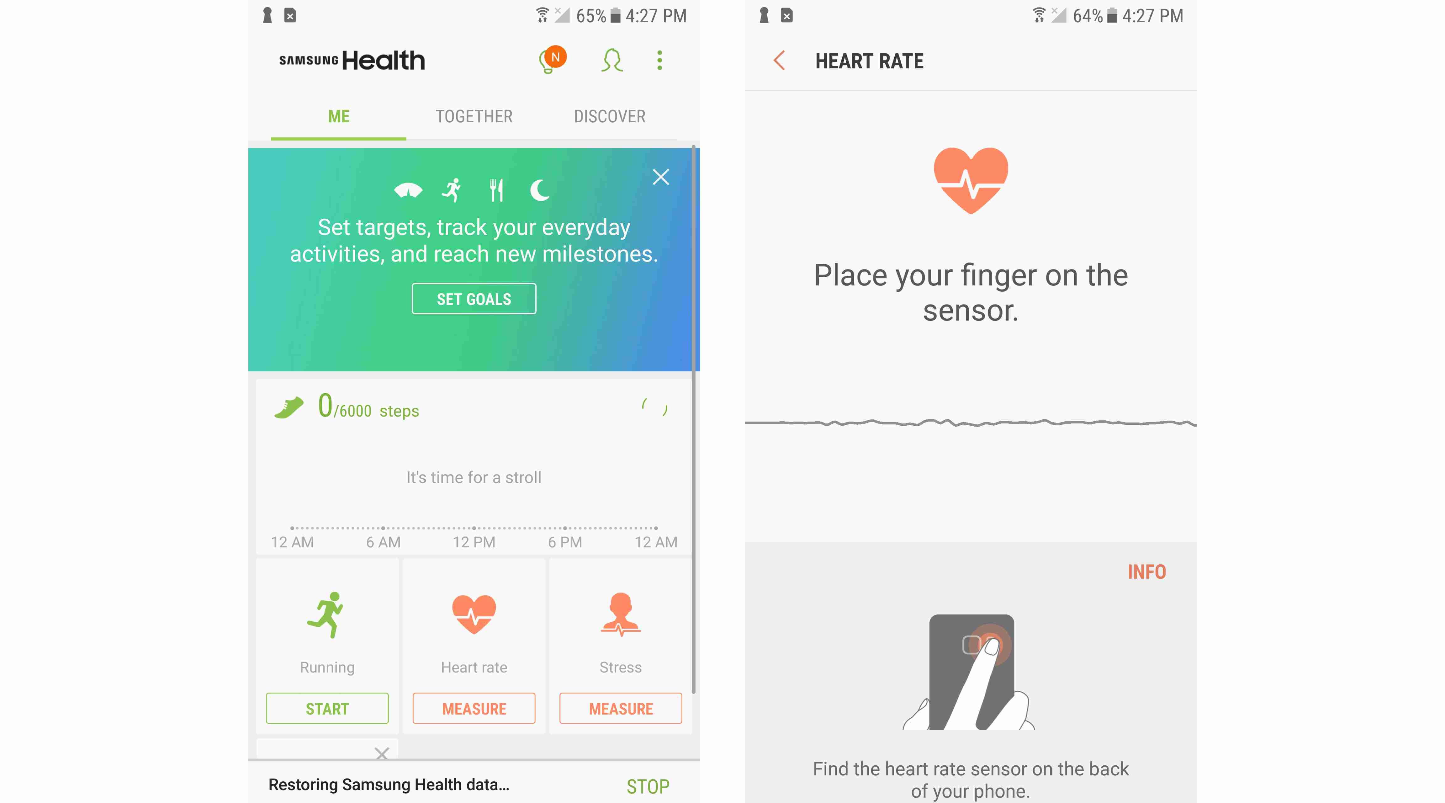 Screenshots of Samsung Health app