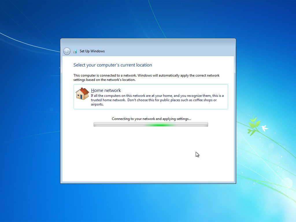 Windows 7 connecting to the network after setup