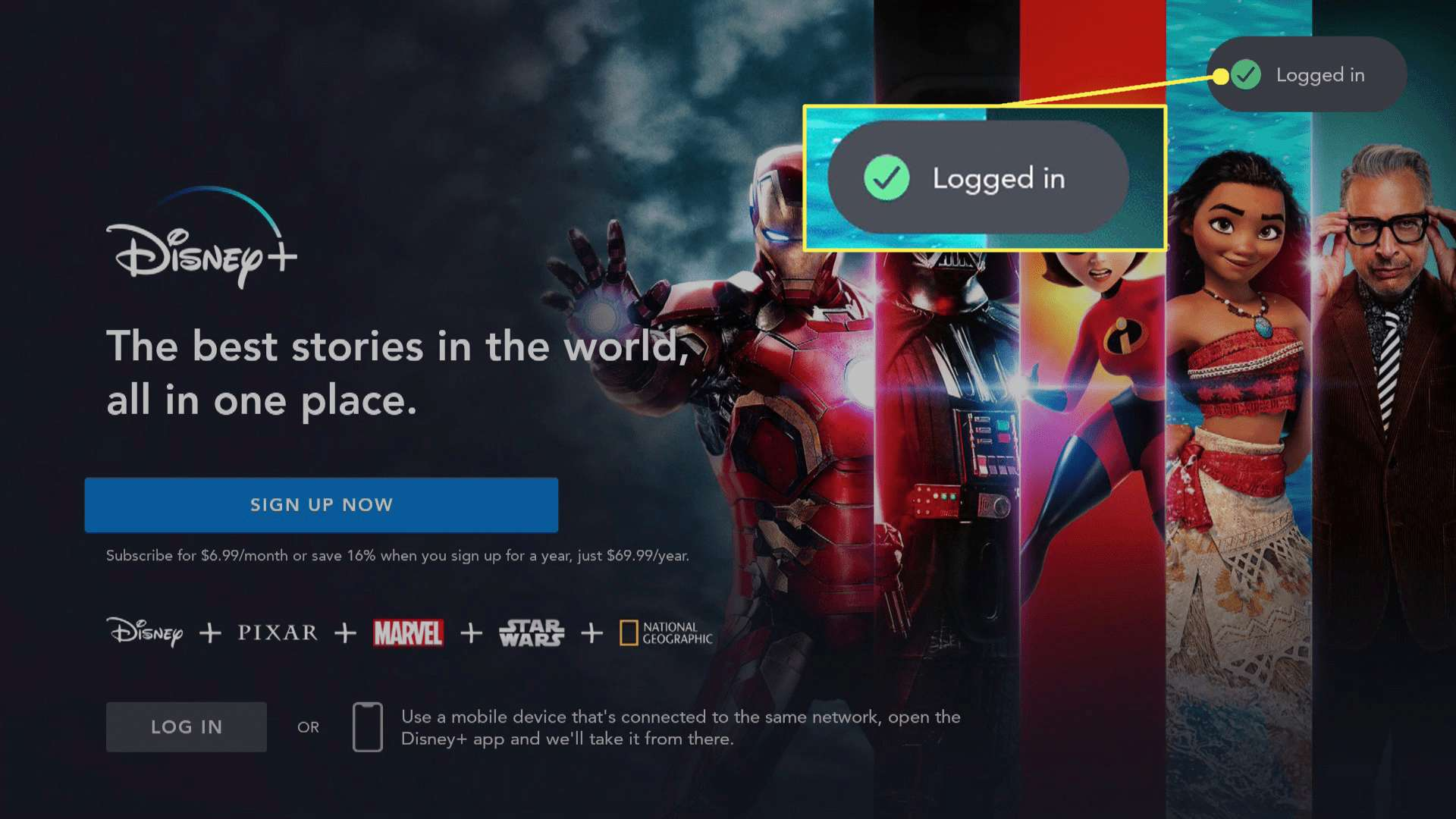 Disney Plus logged in on Fire TV with logged in message highlighted