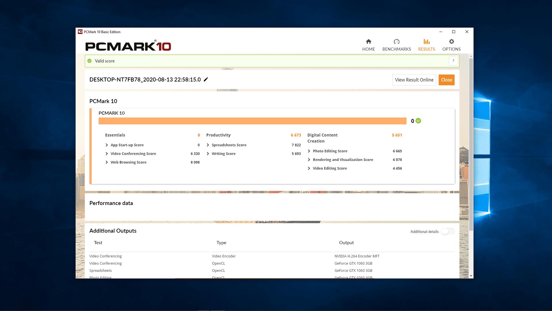 A screenshot of PCMark 10.