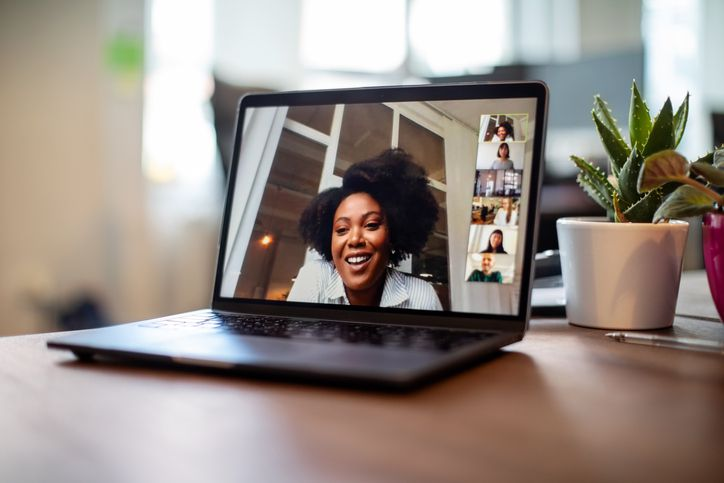 Woman in a Zoom call
