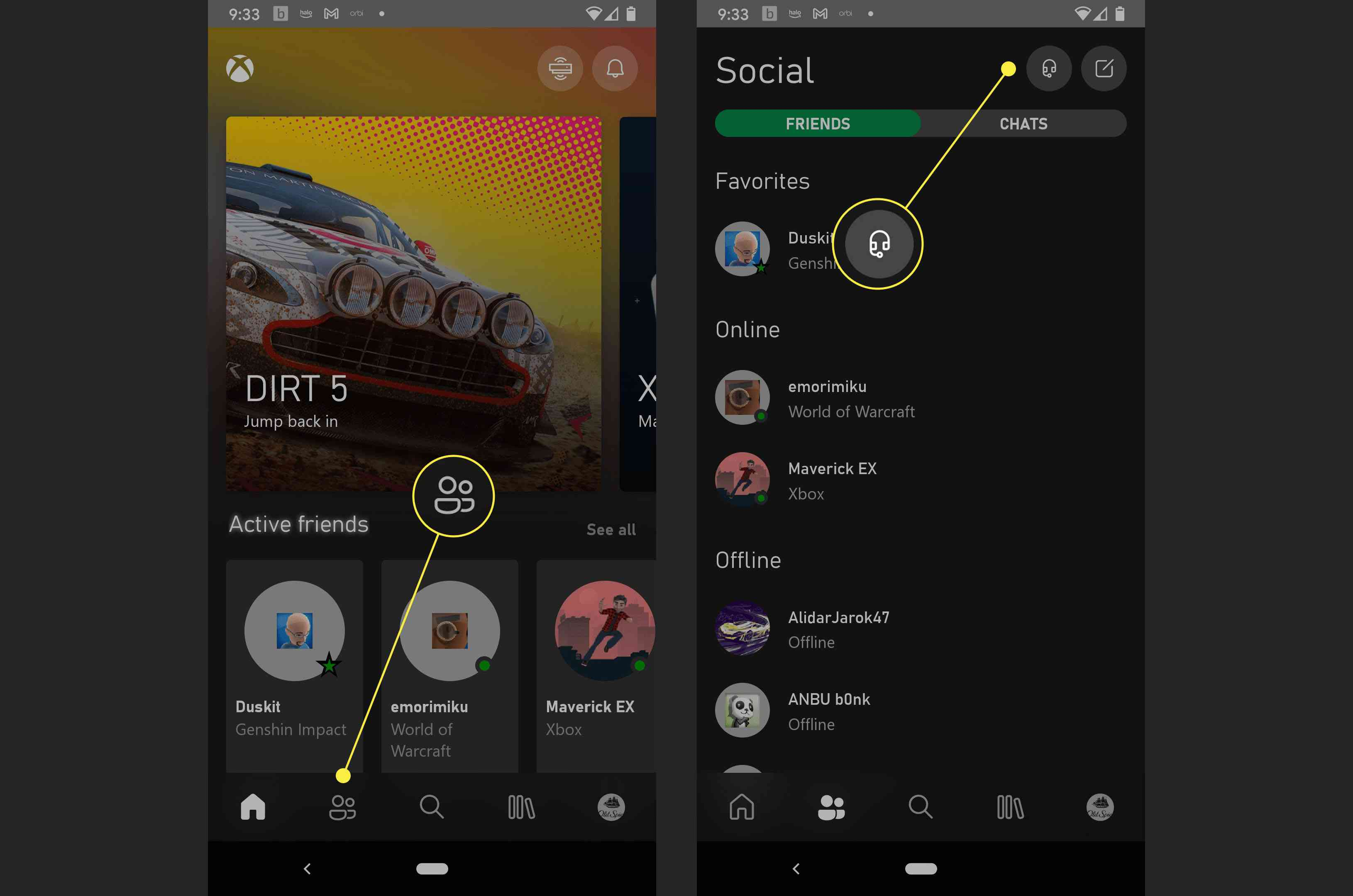 The social options in the Xbox app on Android.