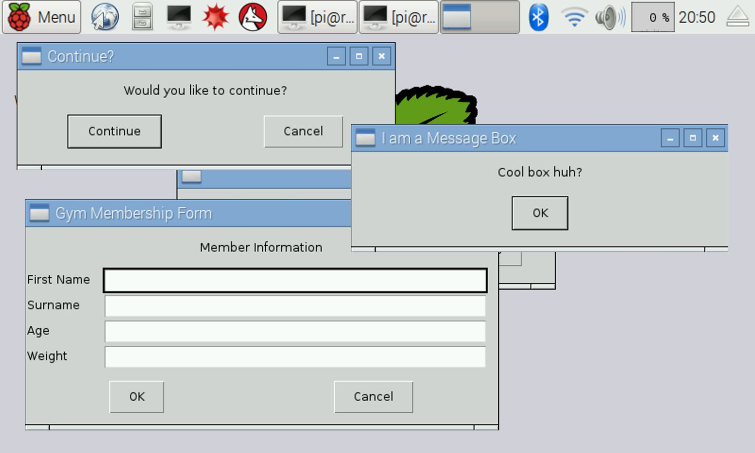 Make Simple Guis With The Raspberry Pi Using Easygui Wiringpi In Python Message Boxes