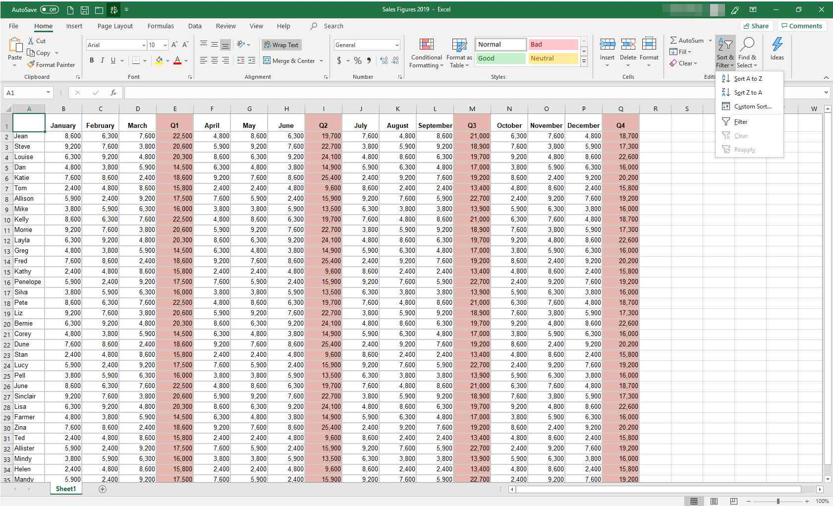 How a Filter Works in Excel Spreadsheets