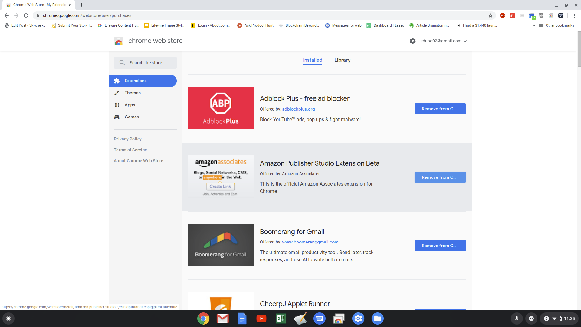 Screenshot of installed Chrome extensions in Chrome