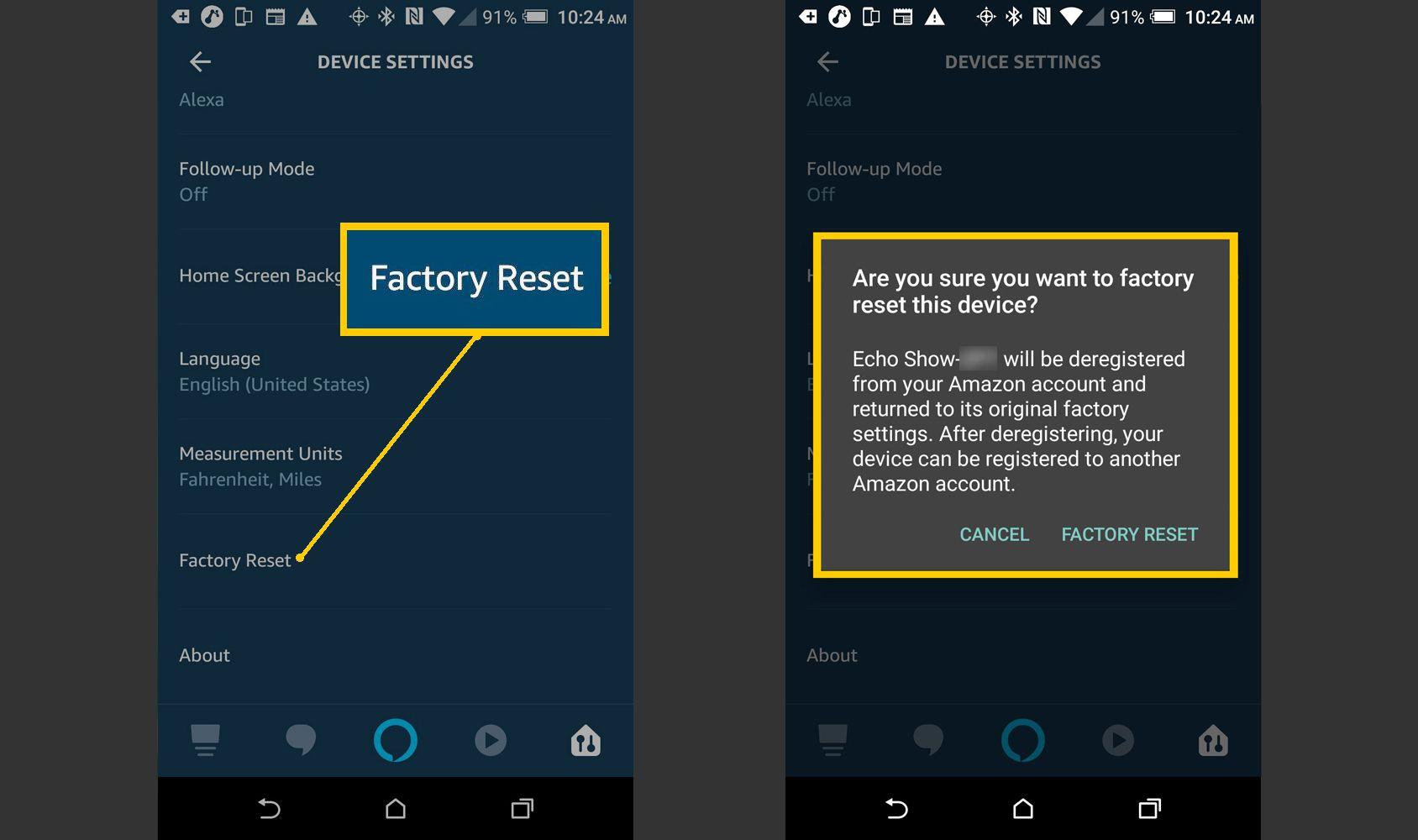 Alexa App – Reset Device