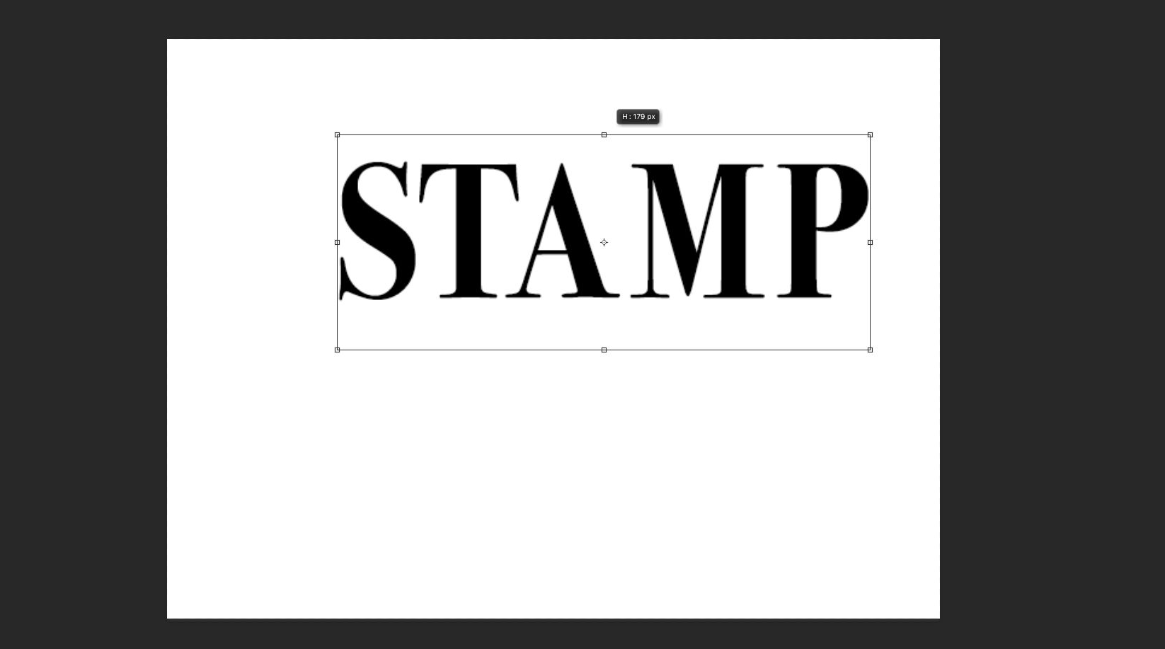 The word stamp is elongated using the Move Tool