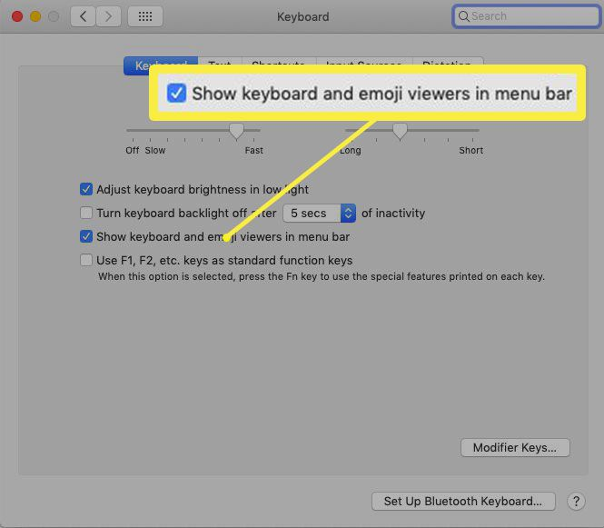Show keyboard and emoji viewers in menu bar System Preference in macOS.