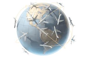 aircraft orbiting a globe showing America