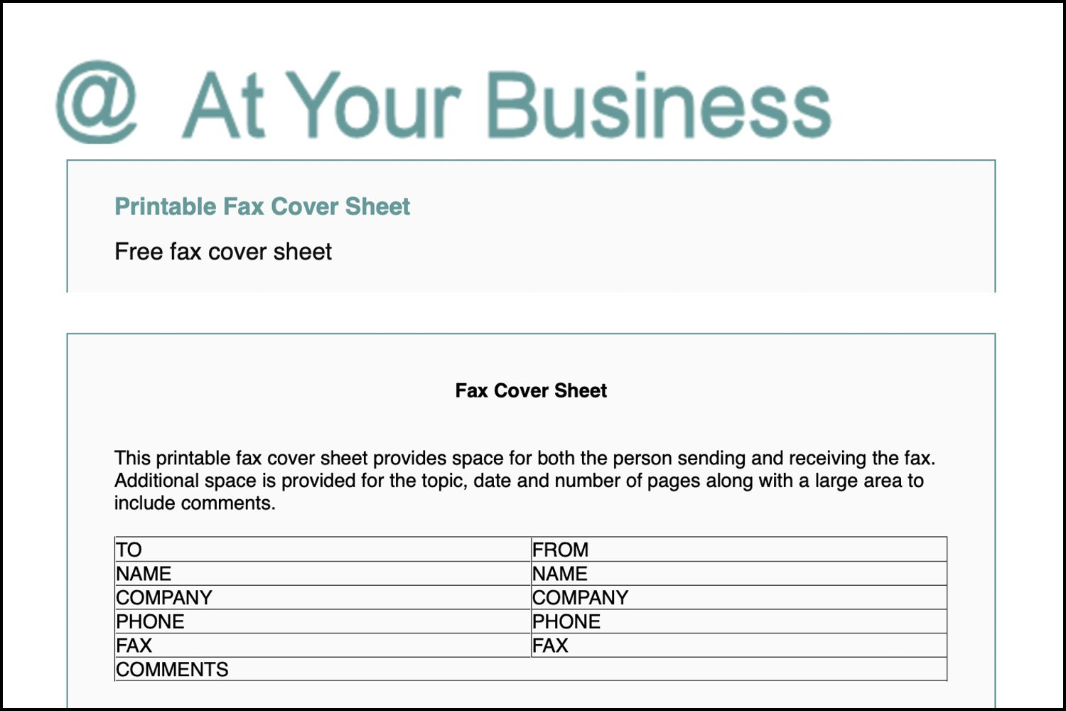 printable fax cover sheet free