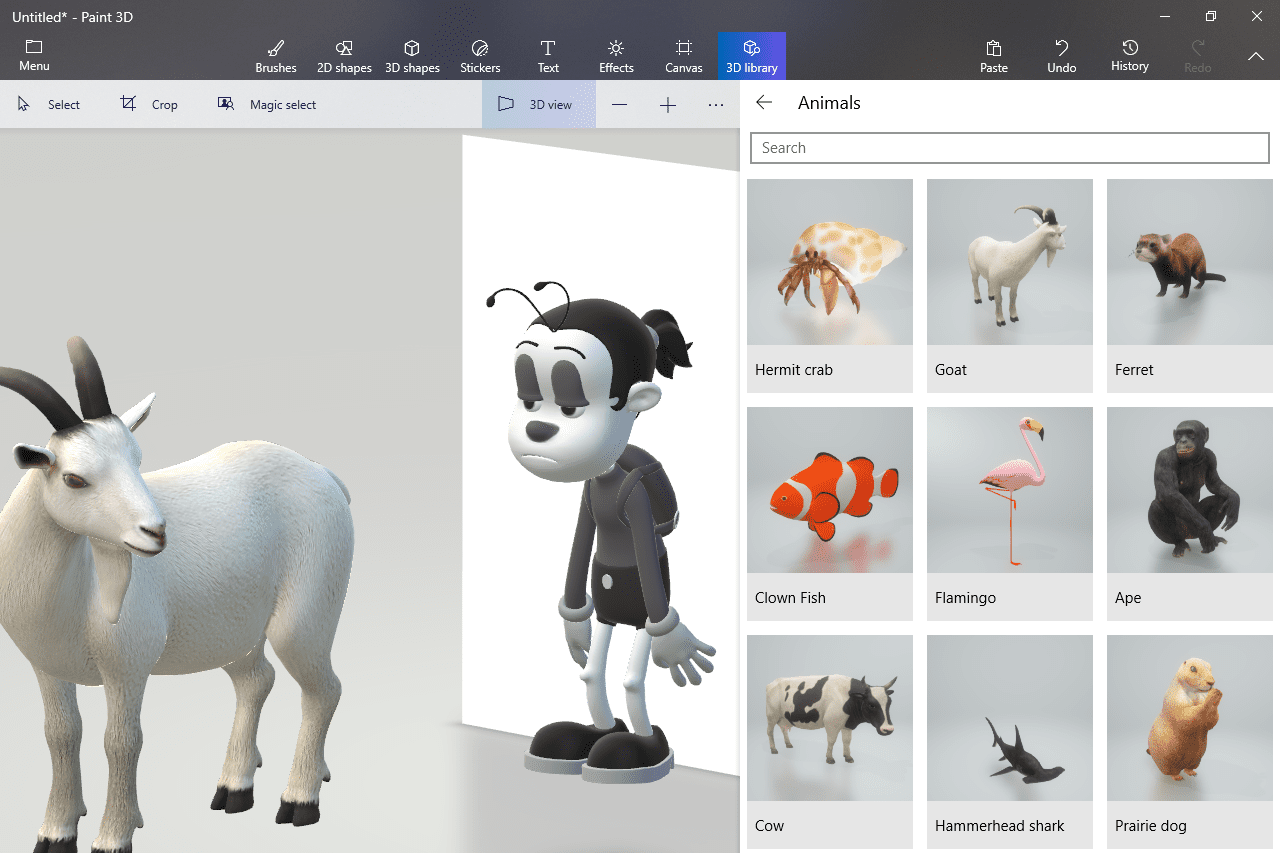 Paint 3D library of animals
