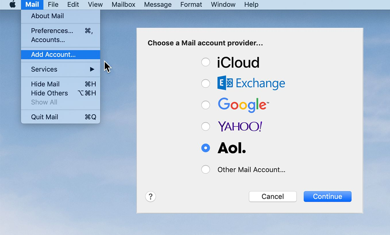 Set Up an AOL Email Account Using Apple's Mail App
