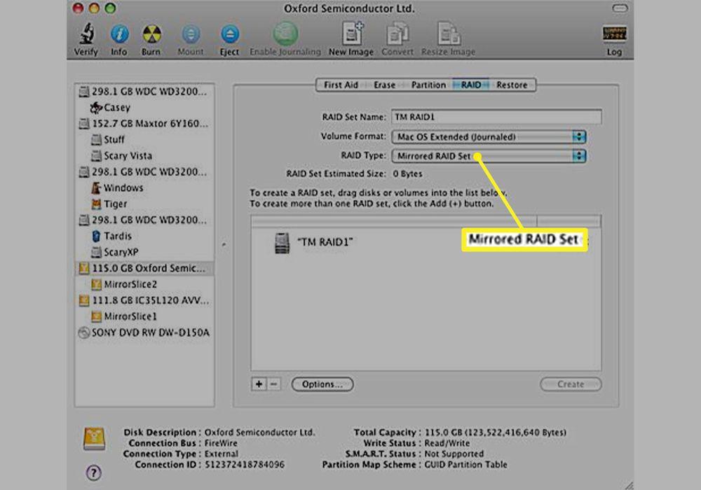 Mirrored RAID Set chosen and the RAID Type in Disk Utility