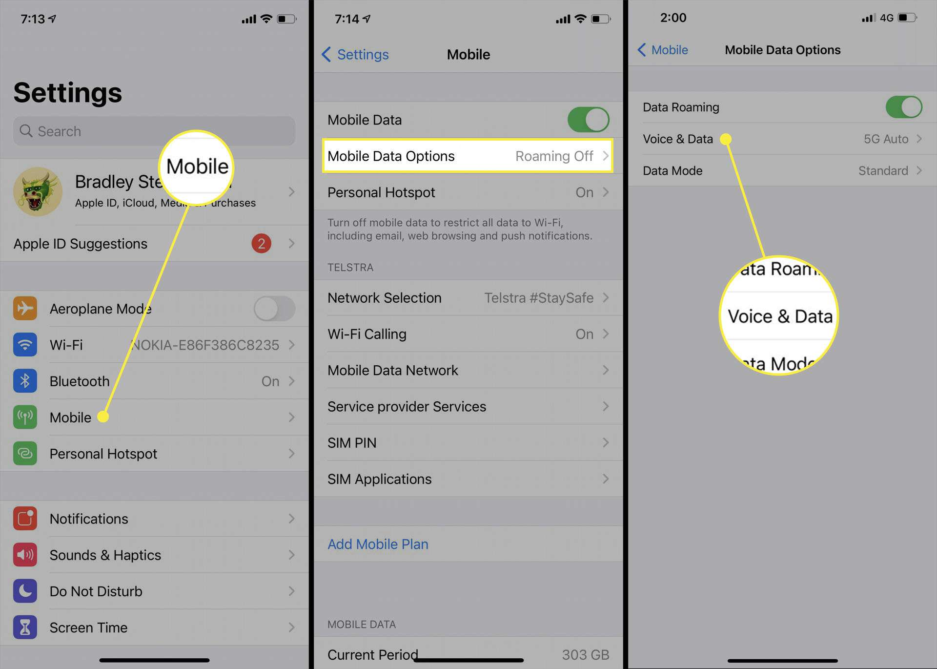 iPhone 5G options in the iOS Settings app.