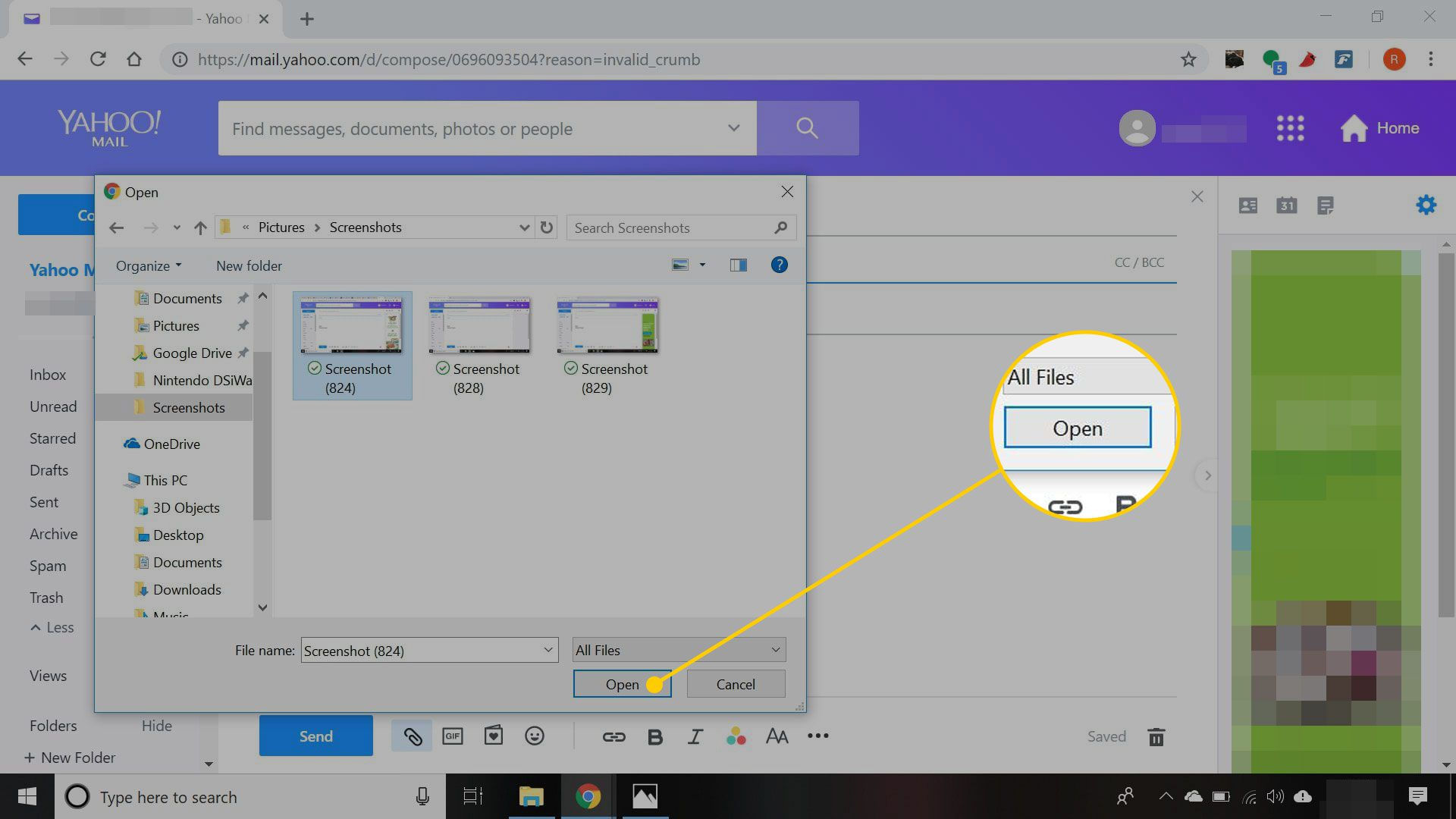 Attaching an image in Yahoo Mail. The Open button is highlighted