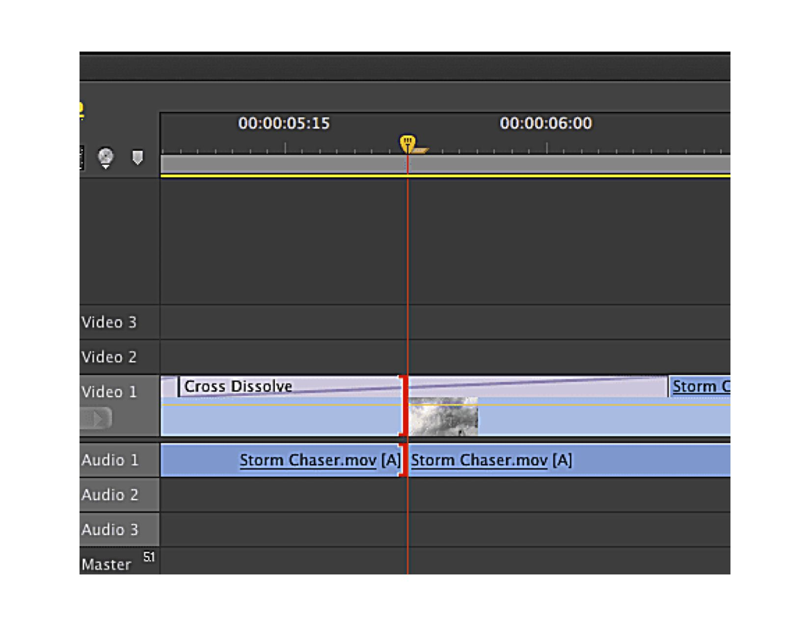 Screenshot of timeline and transition in Premiere