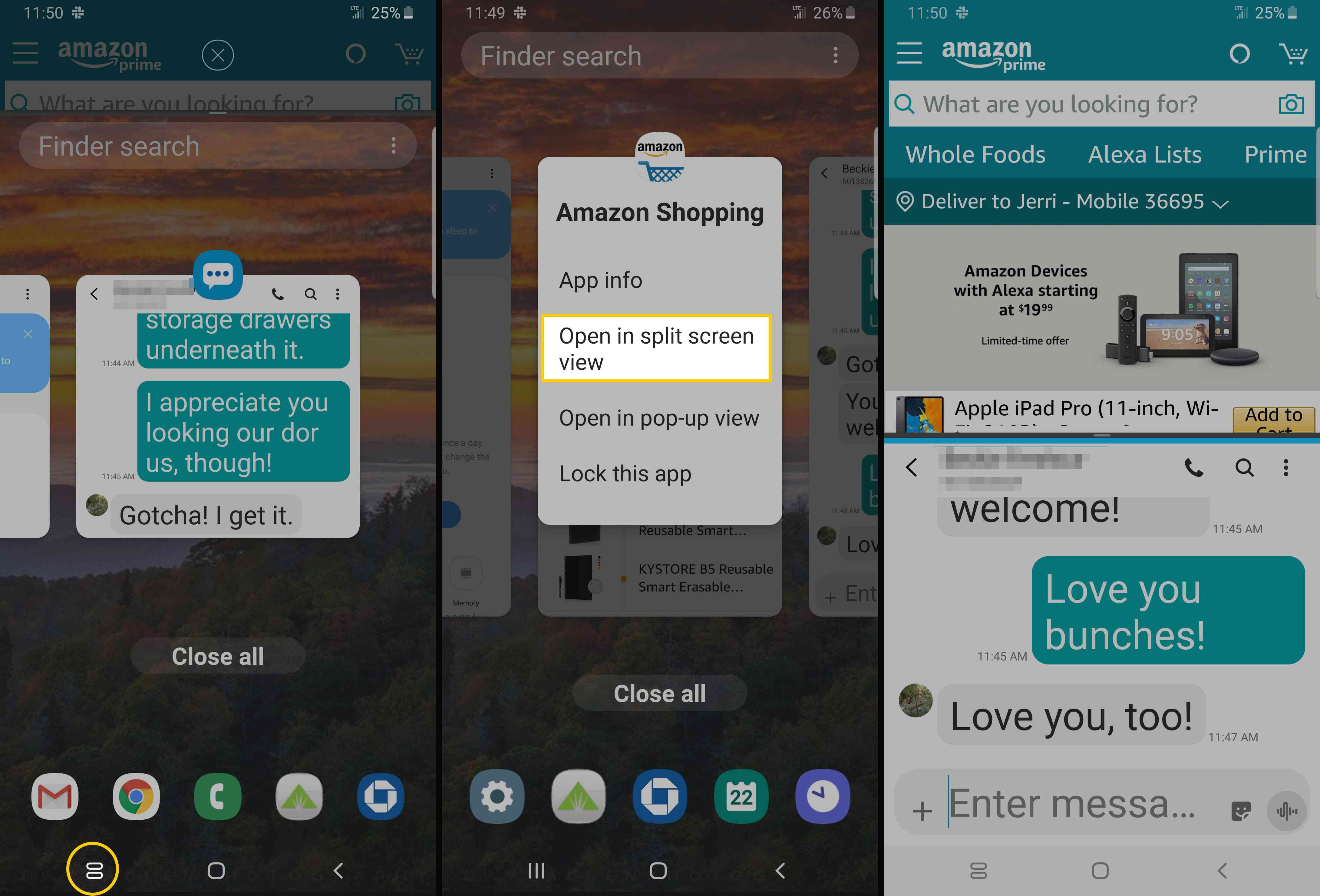 Screenshots showing how to use Split Screen Mode on Samsung Android.