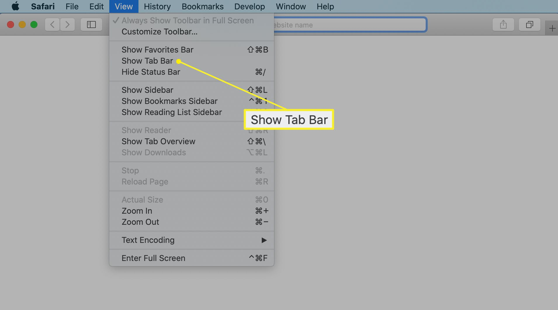 Safari on a Mac with the Show Tab Bar option under the View menu highlighted