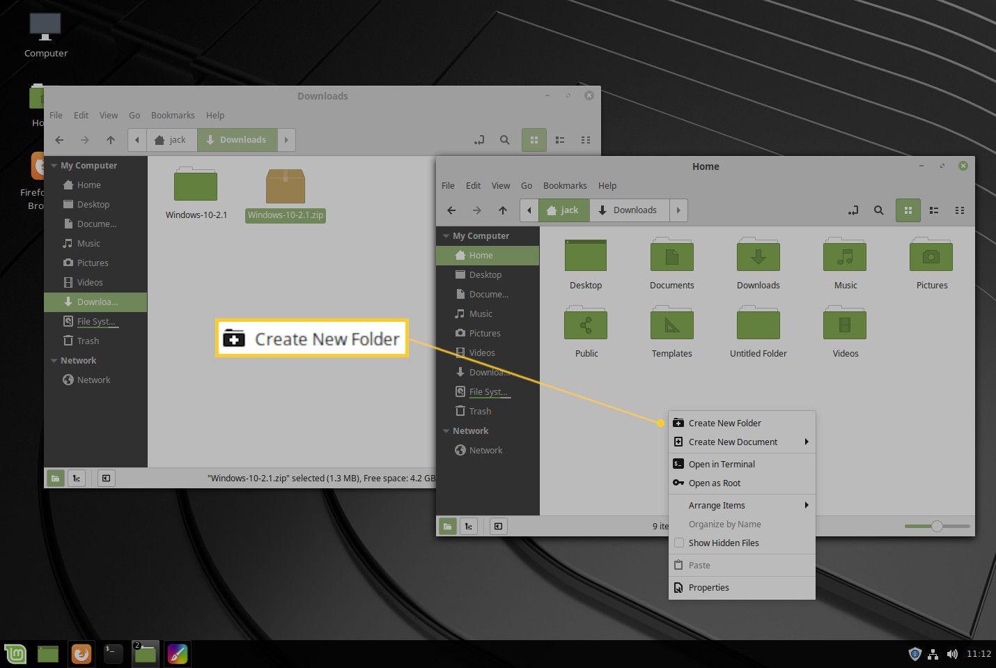 Screenshot of the Create New Folder menu entry.