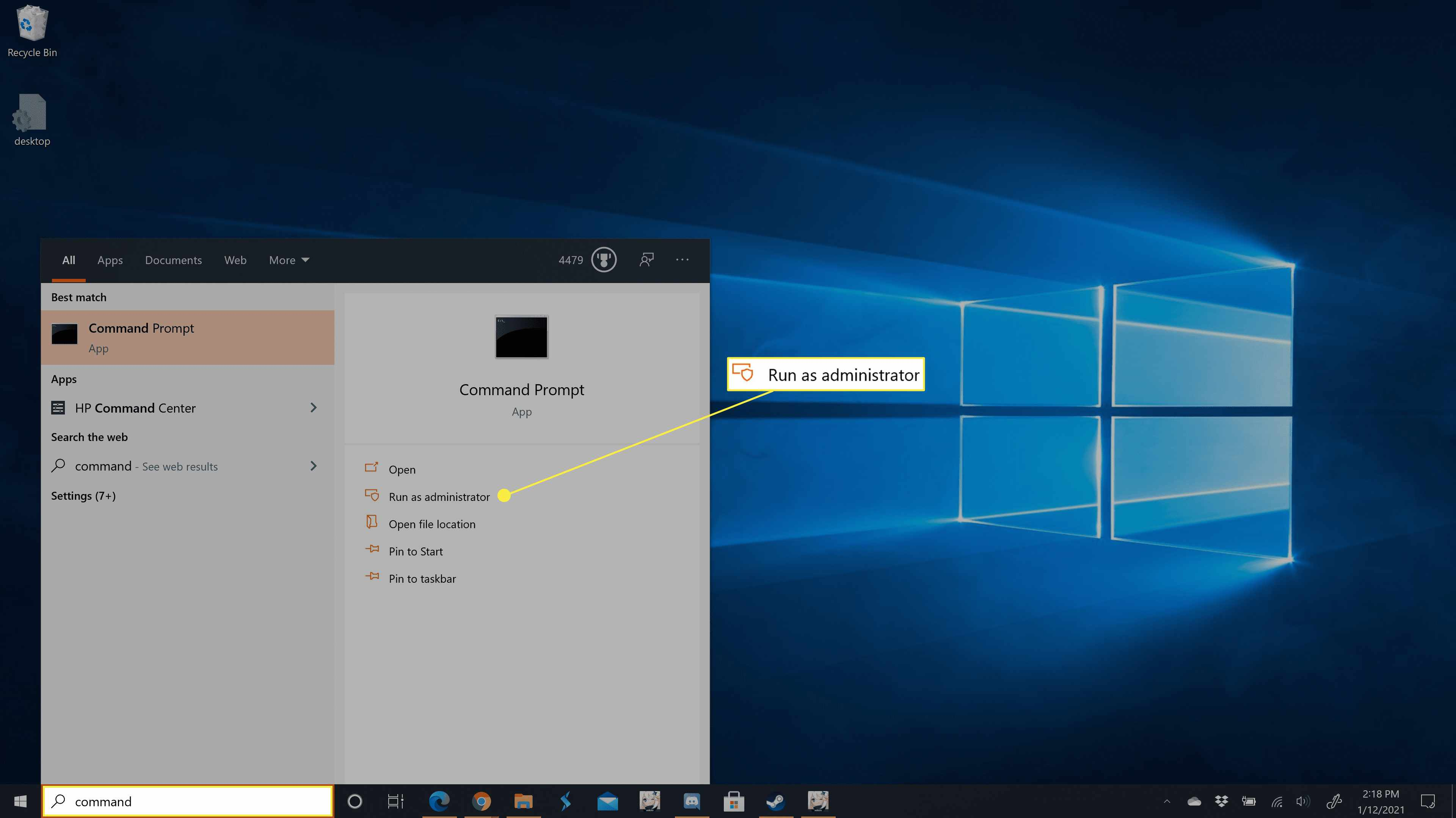 Command Prompt in the Windows 10 Taskbar search.
