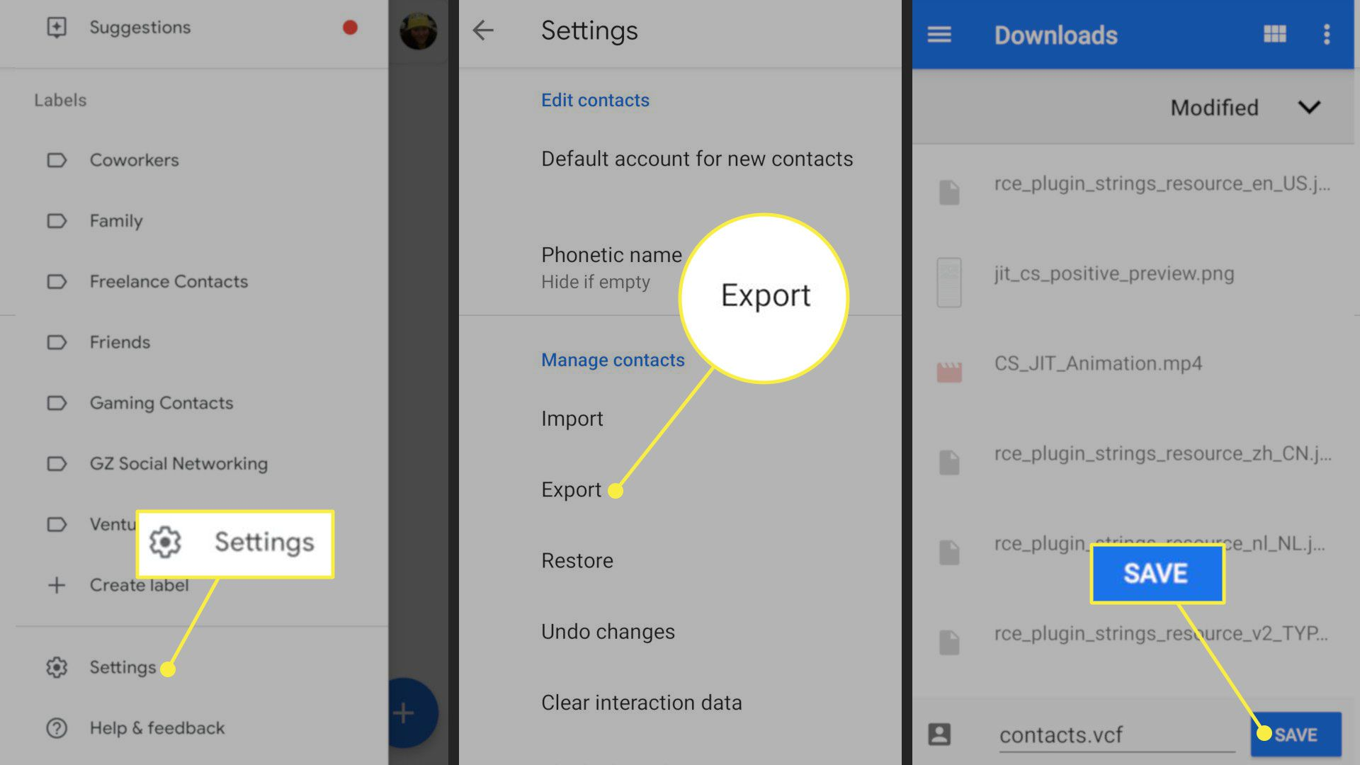 The Settings, Export, and Save buttons in Google