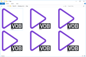 Screenshot of several VOB files