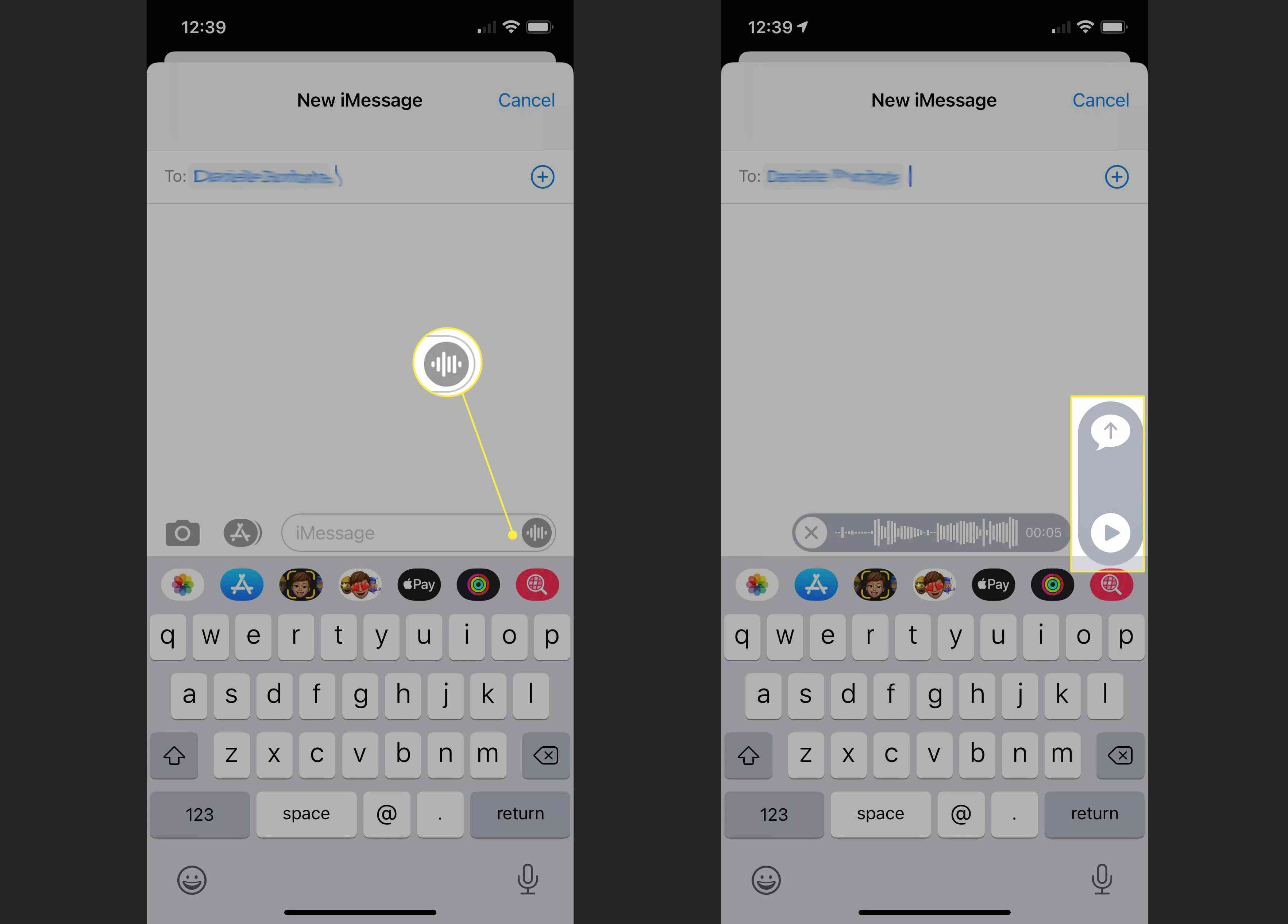 Audio, Play, and Send icons highlighted in Apple Messages