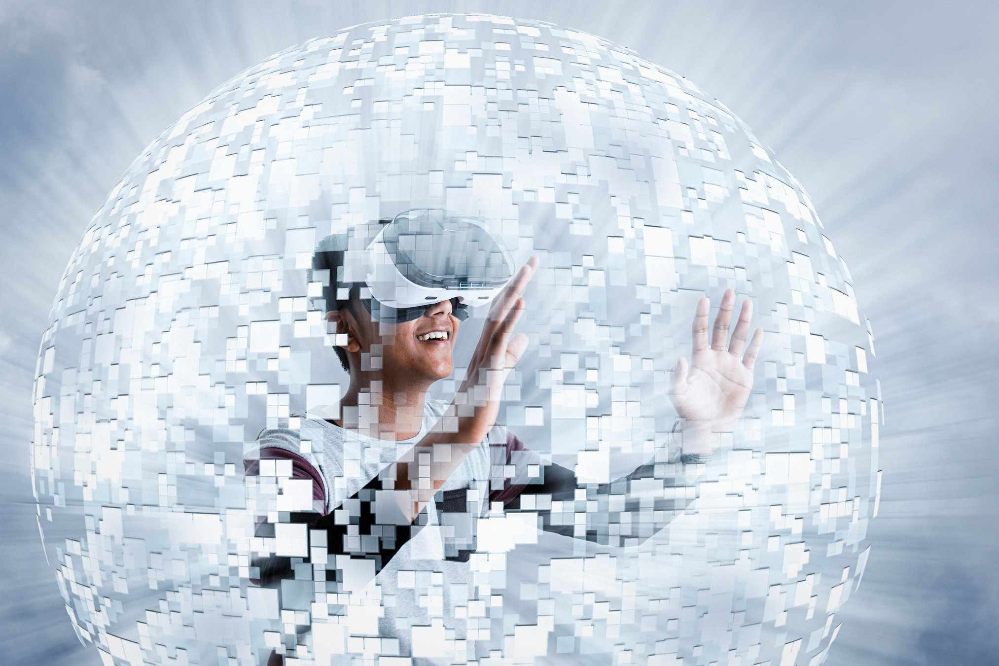 boy wearing virtual reality goggles in floating sphere