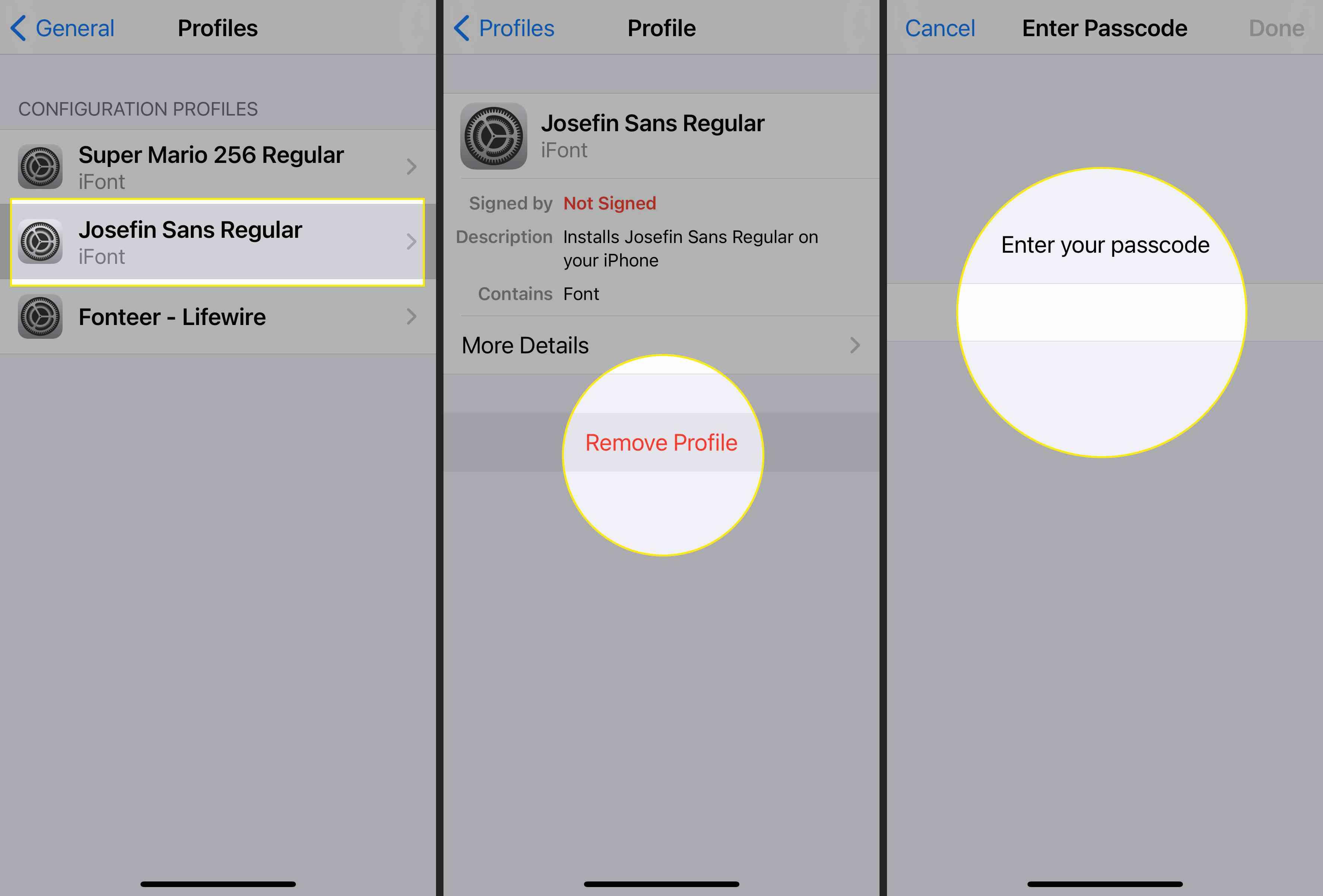 iPhone profile settings with JoseFin Sans Regular,