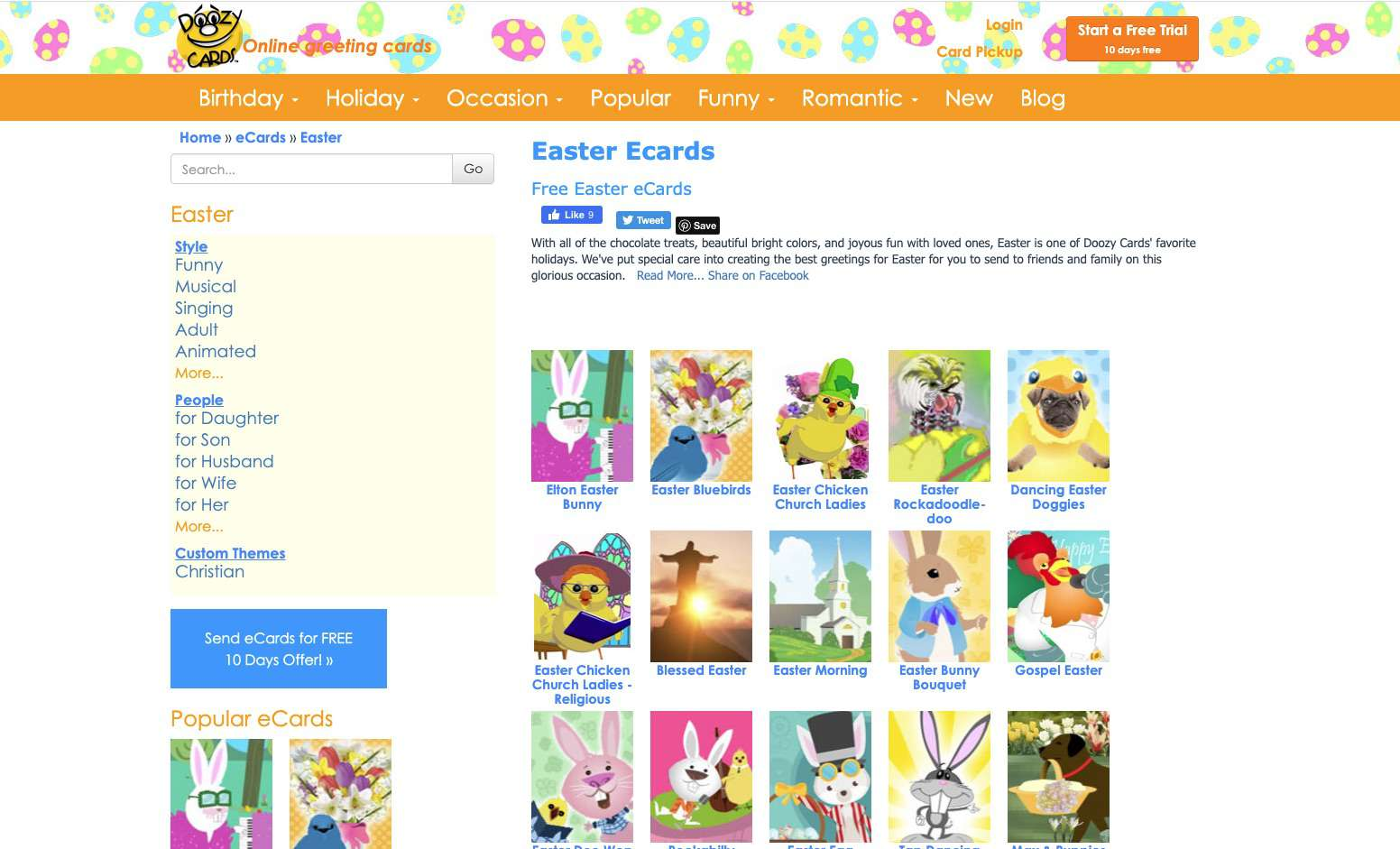DoozyCards free Easter E-Cards