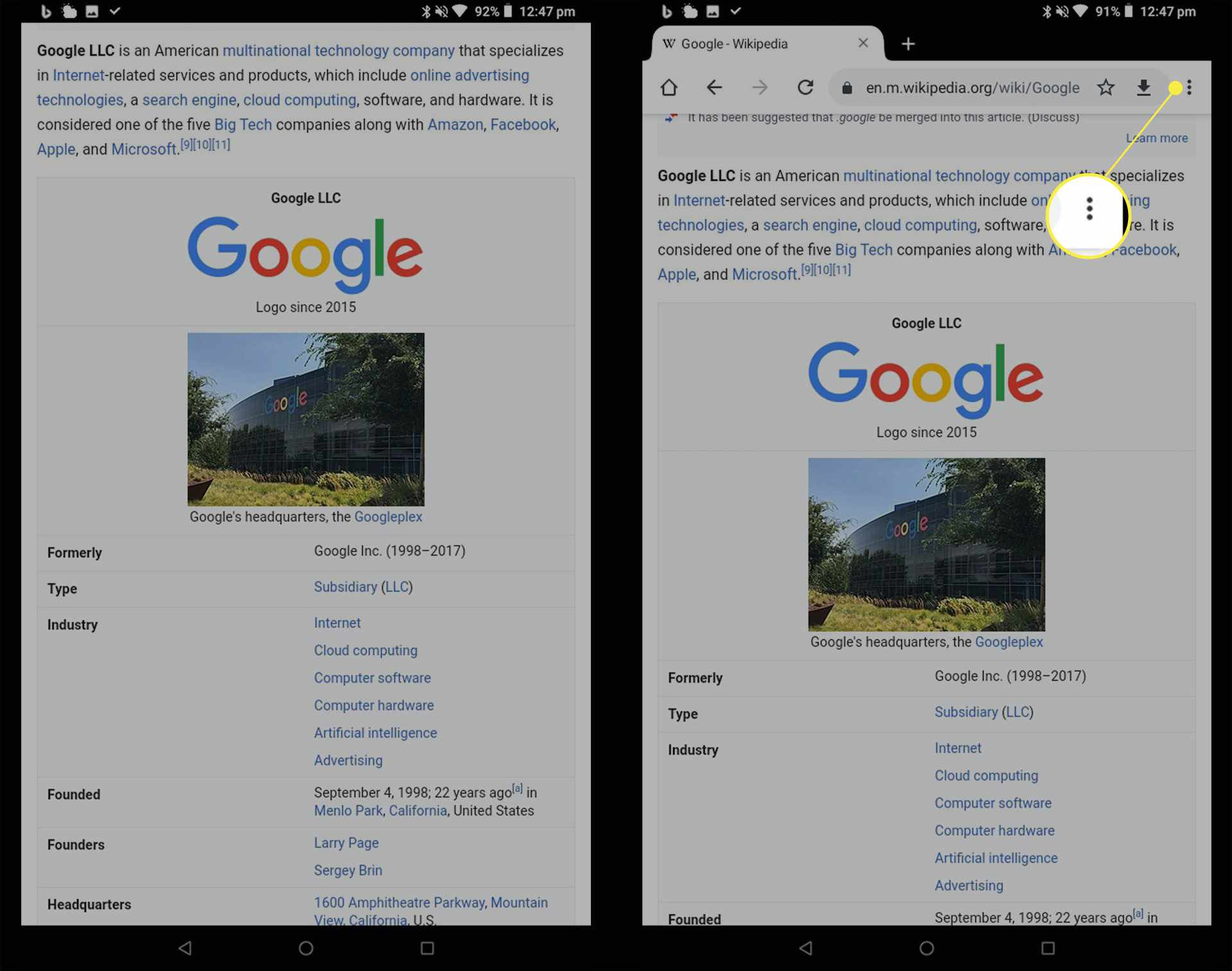 A Wikipedia web page open in the Chrome browser on an Android tablet with the Ellipsis icon highlighted