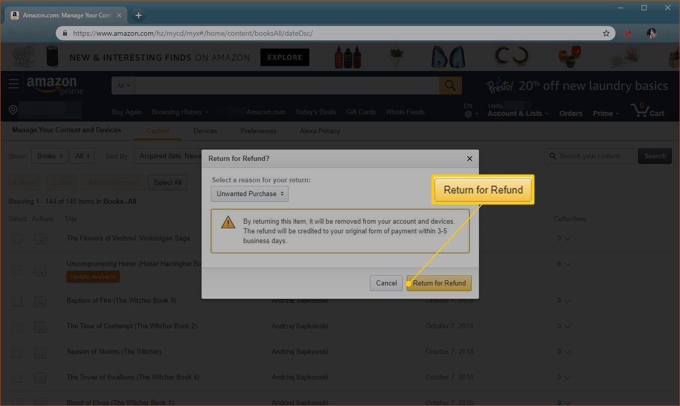 Return for Refund button on Amazon.com