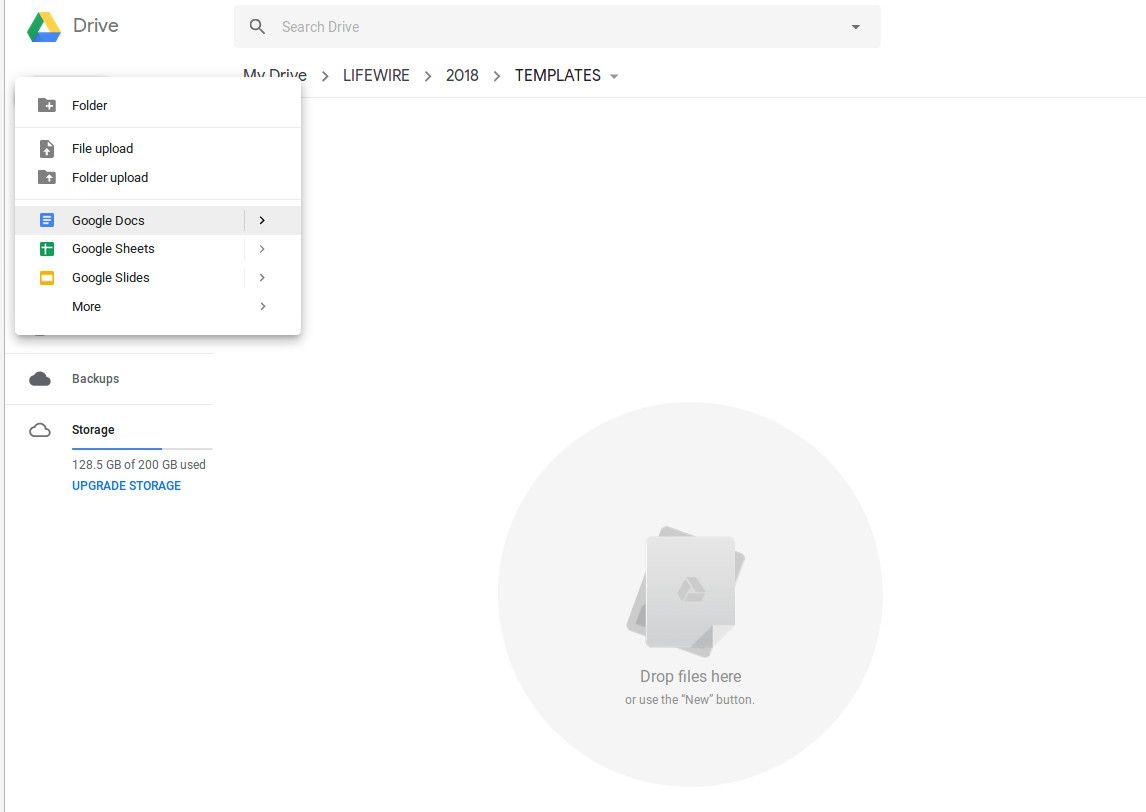 Creating an empty Google Doc