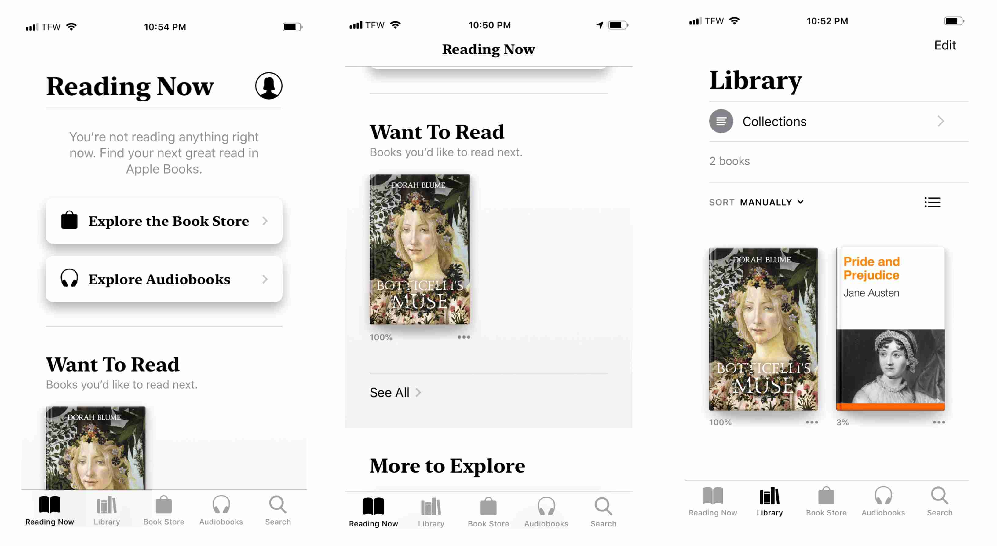 Screenshot of bookstore features on iPhone