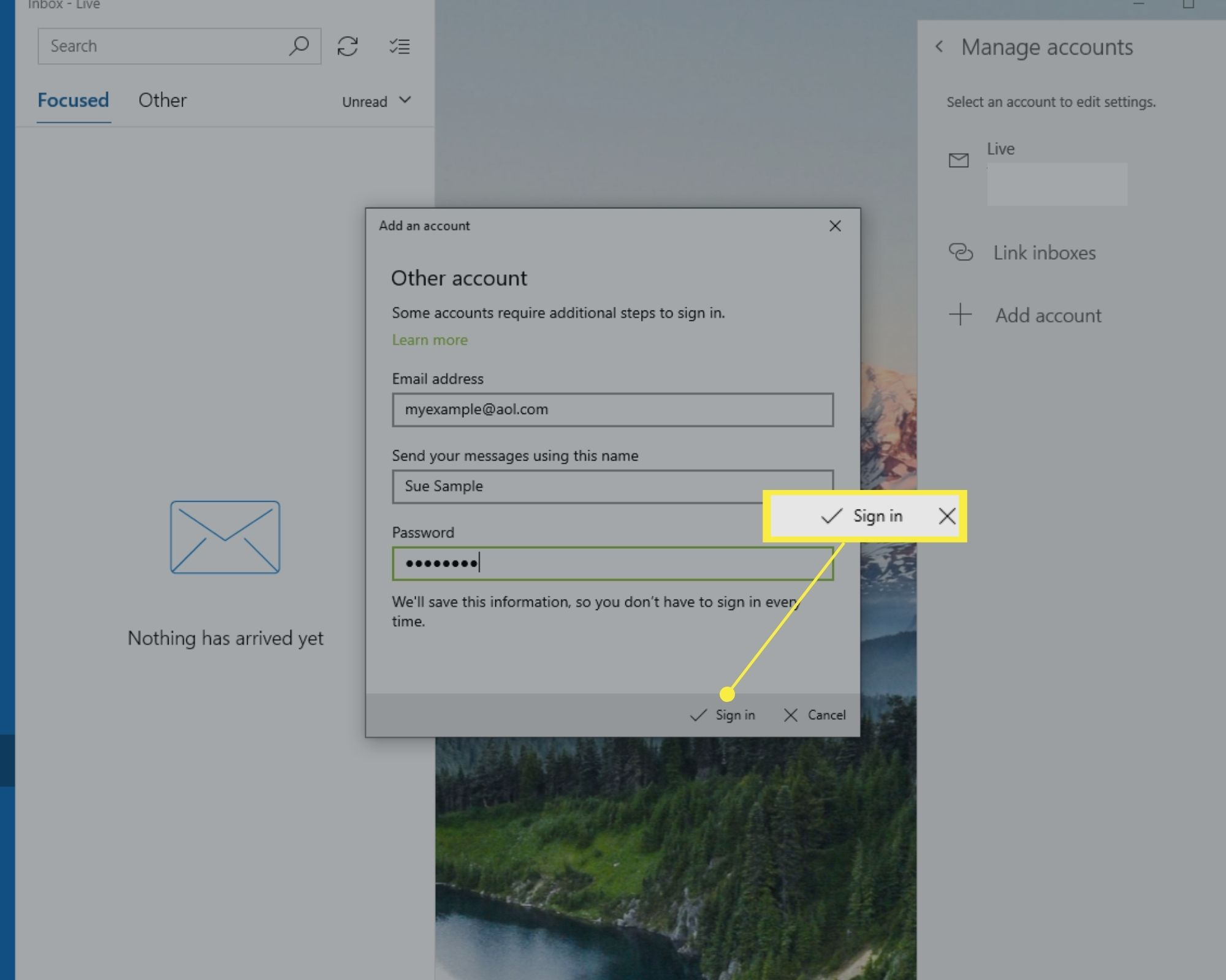 Sign in option on Windows 10 Mail Add an account window.