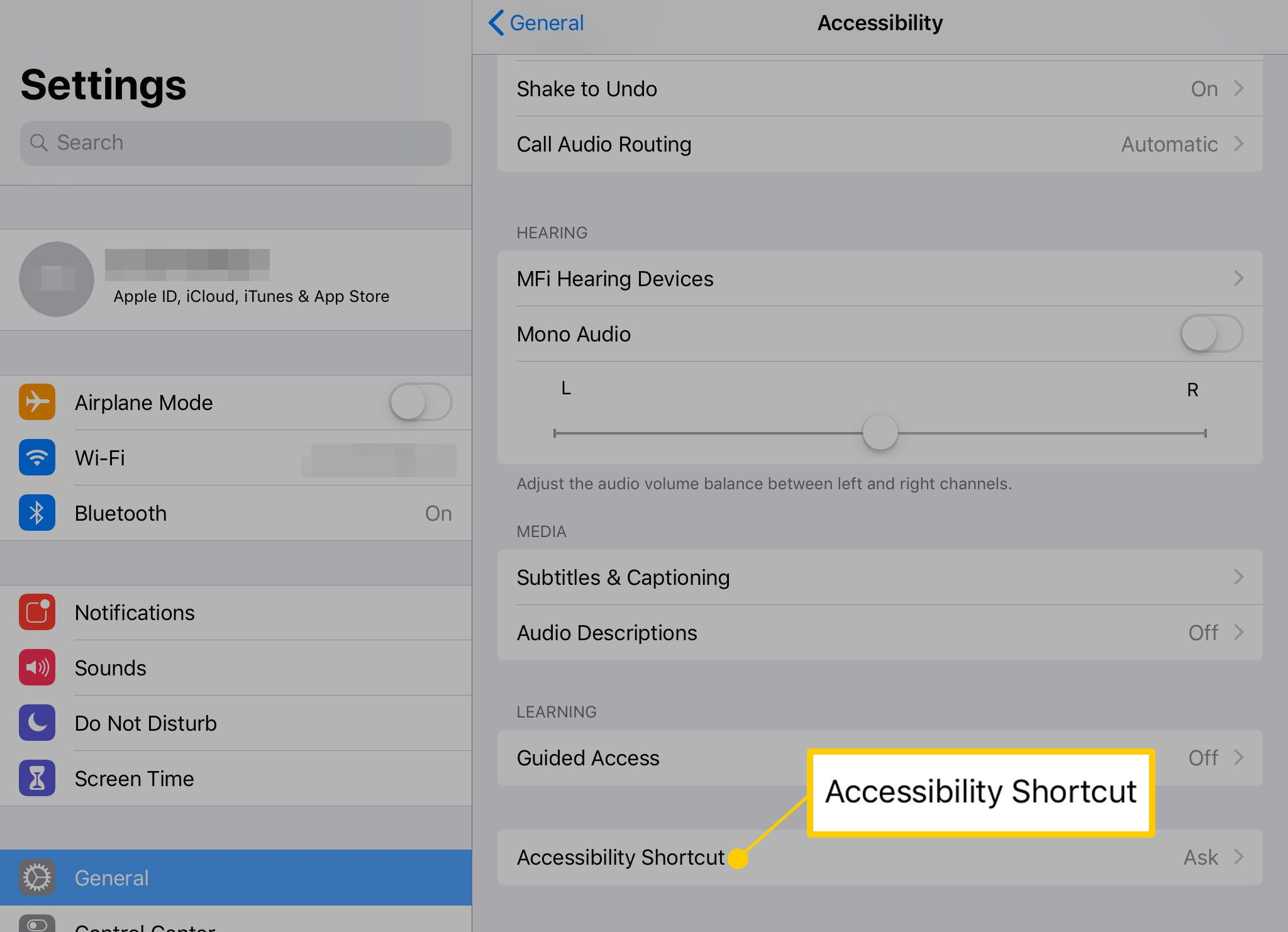 Accessibility Shortcut setting on iPad