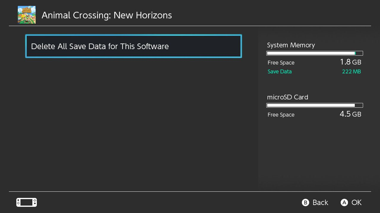 Selecting Delete All Save Data for Animal Crossing: New Horizons