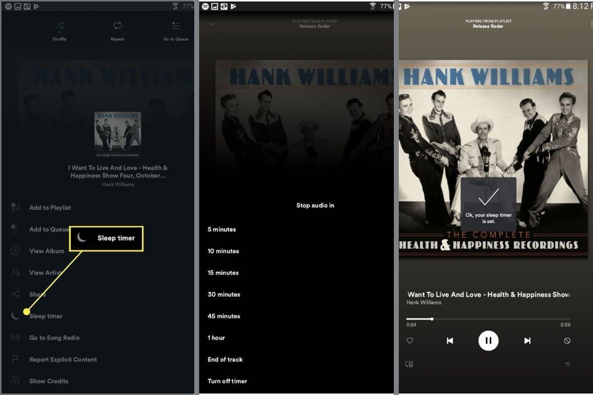 Turning on Spotify Sleep